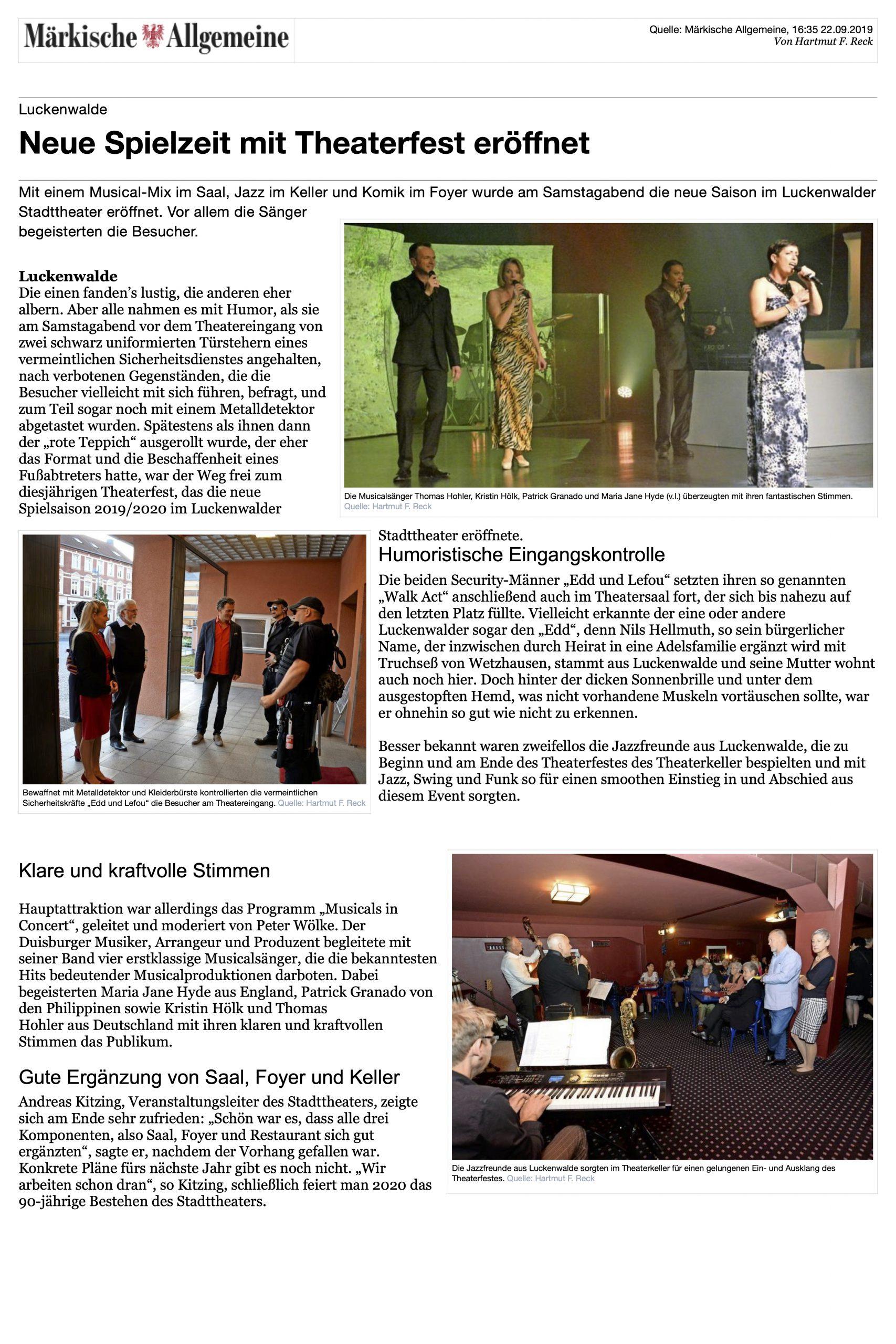 Neue Spielzeit mit Theaterfest eröffnet